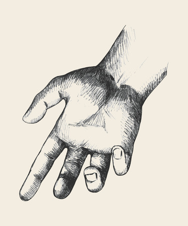 Sketch illustration of a reaching hand Vector