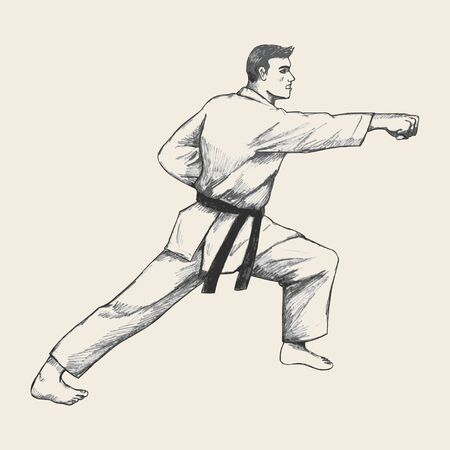 martial artist: Positions of martial artist in traditional suit Illustration