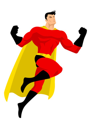 Illustration of a superhero in flying pose