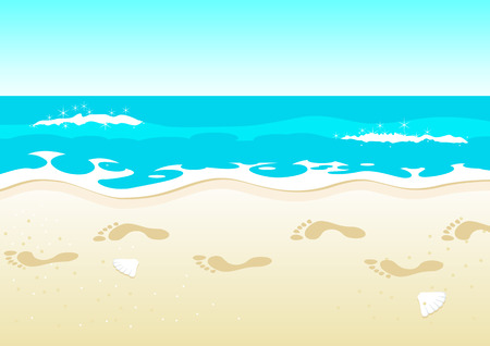 footprints in sand: Illustration of footprints on beach Illustration