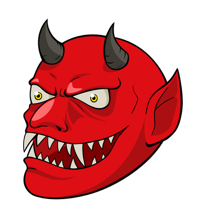 lucifer: Cartoon illustration of devil head isolated on white