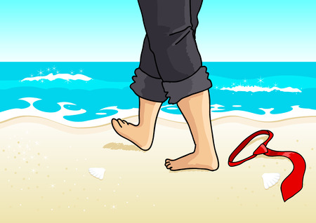 footprints in sand: Cartoon illustration of a businessman with barefoot walking on the beach