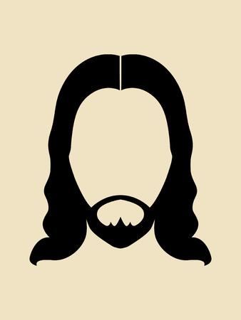 長い髪のシンボルとひげの男