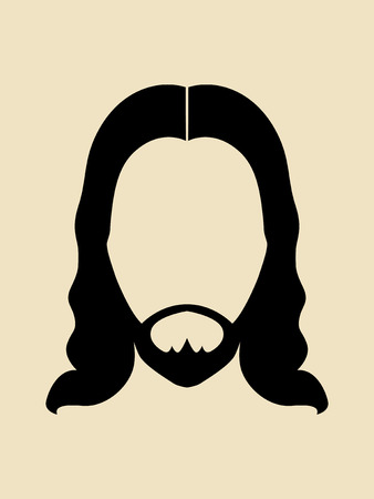 long hair: Man with beards and long hair symbol Illustration