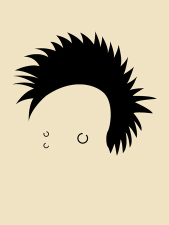 punk hair: Face symbol of a man head in punk style hair Illustration