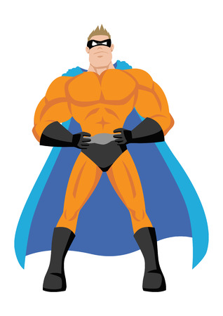 action hero: Cartoon illustration of a superhero Illustration