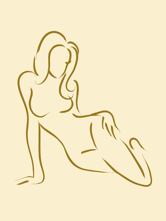 naked woman sitting: Sketch illustration of a female figure sitting on the floor Illustration