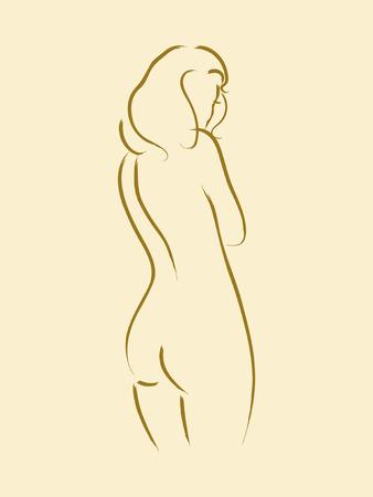 Schets van een naakt vrouw van achter