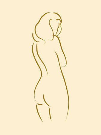 naked female: Sketch of a nude woman from behind