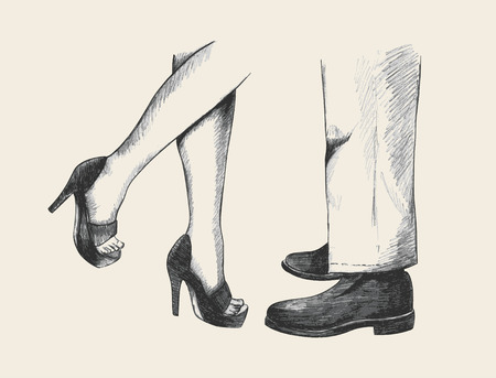 high heels woman: Sketch illustration of a cuddling or kissing couple legs