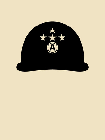 military helmet: Symbol illustration of a helmet used by general Patton
