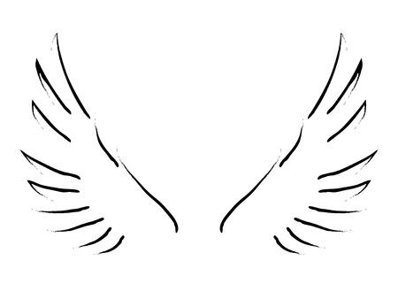 날개의 간단한 스케치 일러스트