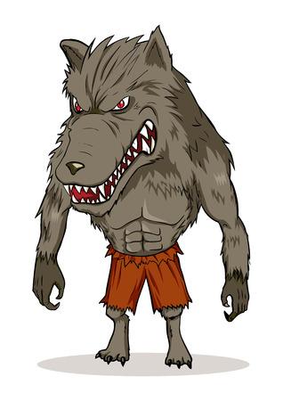 perro furioso: Ilustraci�n de dibujos animados de un hombre lobo