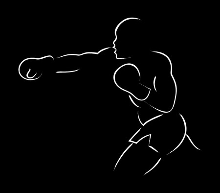 Simple graphic of a boxer figure