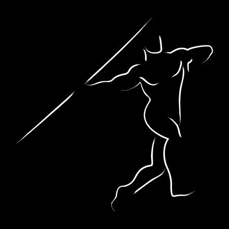 lanzamiento de jabalina: Gráfico simple de un atleta de lanzamiento de jabalina Foto de archivo