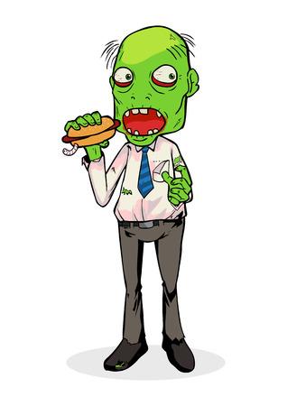 hombre caricatura: Ilustración de dibujos animados de un zombi que come un perrito caliente
