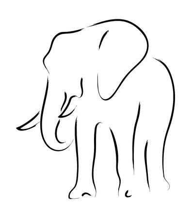 lijntekening: Eenvoudige grafisch van een olifant Stockfoto