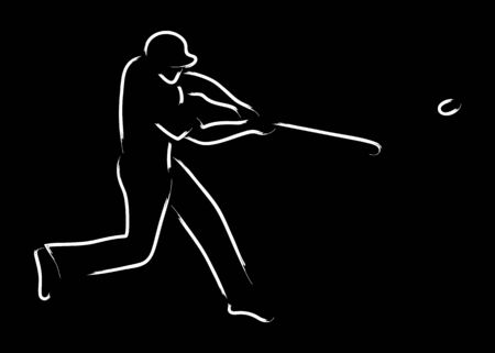 baseman: Simple graphic of a pinch hitter in baseball sport Stock Photo