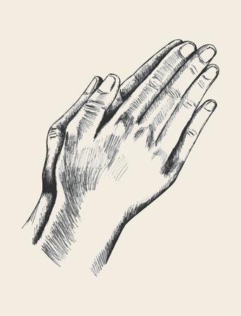 orando: Ilustración Boceto de la mano rezando