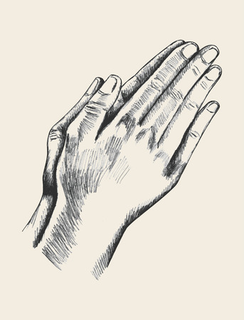 man praying: Sketch illustration of praying hand Stock Photo