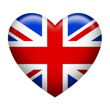 Forma do coração da bandeira de Reino Unido isolado no branco Imagens