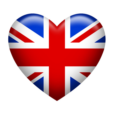 Hart vorm van de vlag van het Verenigd Koninkrijk op wit wordt geïsoleerd