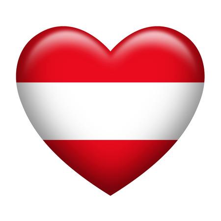austrian flag: Heart shape of Austrian flag isolated on white Stock Photo