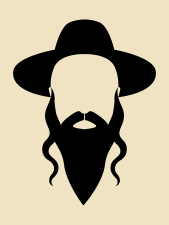 kippah: Simple graphic of a man with long beard wearing a hat