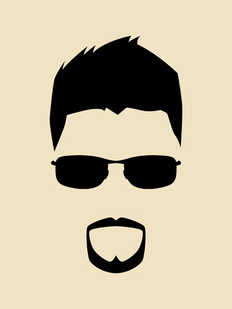 male face: Cool man with beards and mustache wearing a sunglasses