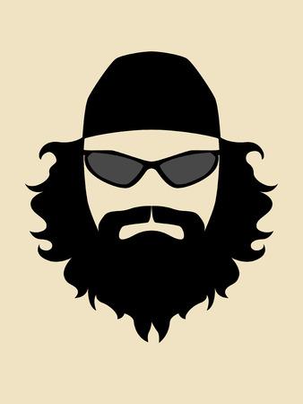 tough man: Simple graphic of a biker portrait