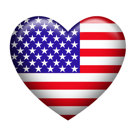 Heart shape of USA flag isolated on white Imagens