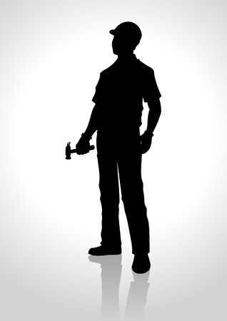 Silhouette illustration of a handyman holding a hammer Vettoriali