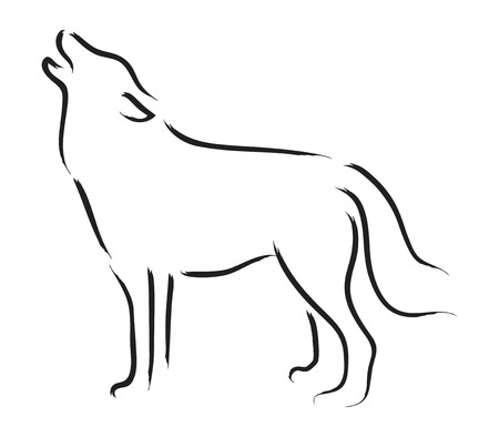 simple line drawing: Simple sketch of a howling wolf