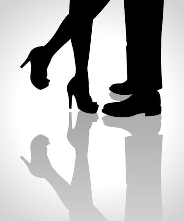 Silhouette illustration of a cuddling or kissing couple legs