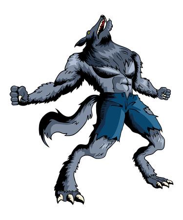 Cartoon illustratie van een huilende weerwolf Stock Illustratie