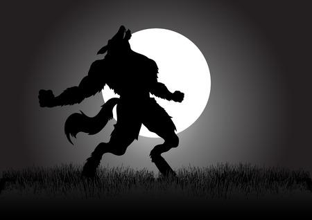lobo: Stock vector de un hombre lobo aullando en la noche durante la luna llena