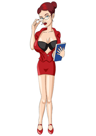 big breast: Cartoon illustration of a sexy woman in red dress