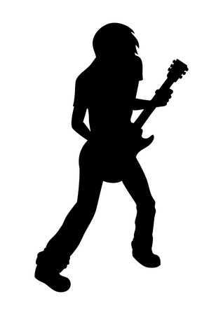 male teenager: Silhouette illustration of a man playing guitar