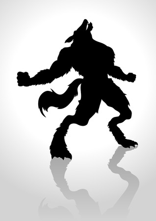 loup garou: Silhouette illustration d'un loup-garou hurlant Illustration