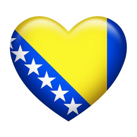 bosnia and herzegovina flag: Heart shape of Bosnia Herzegovina flag isolated on white