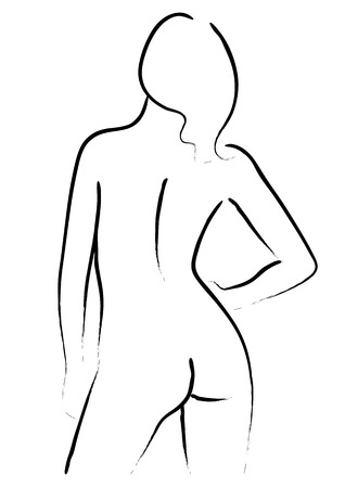 naked female: Simple line art of a nude woman from behind Illustration