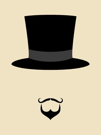cappelli: Simbolo di un uomo con pantaloni a vita bassa baffi e la barba indossando cappello vintage