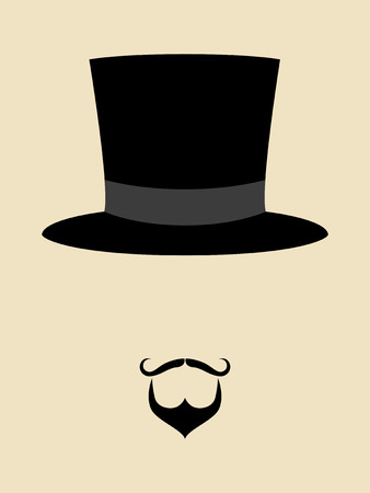 hats: Symbol of a man with hipster mustache and beard wearing vintage hat Illustration