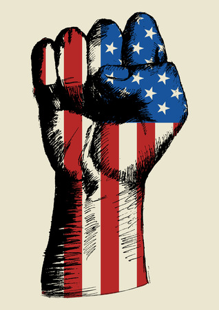 us grunge flag: Sketch illustration of a fist with American insignia Illustration