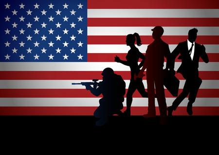 アメリカ国旗に対してさまざまな職業を持つ人々 のシルエット