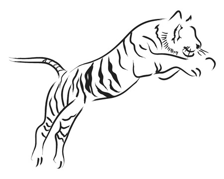 brush: Simple line art of a jumping tiger Illustration