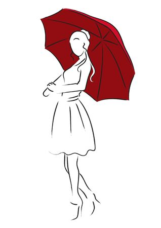 beauty girls: Simple line art of a girl with red umbrella