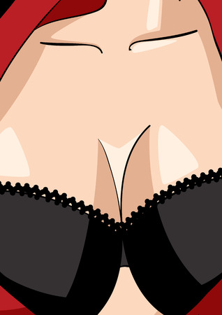 big breast: Cartoon illustration of a sexy woman Illustration