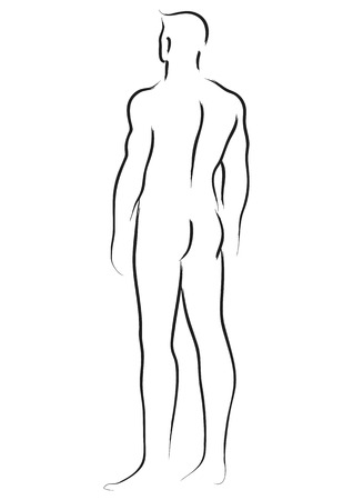 nude man: Simple line art of a male figure look from behind Illustration
