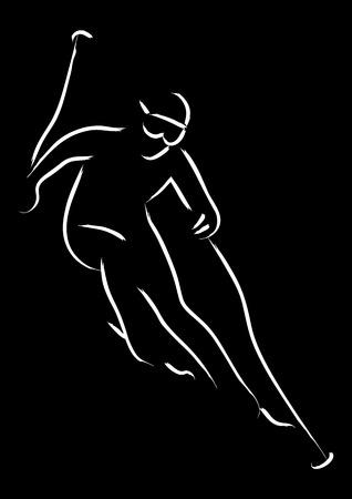 art activity: Simple line art of a man skiing